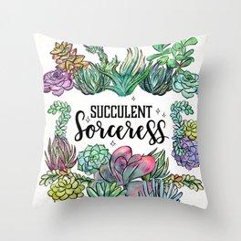 Succulent Sorceress Throw Pillow