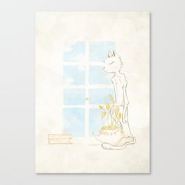 Cat Smelling Flower Canvas Print