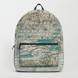 Rustic Wood Turquoise Weathered Paint Wood Grain Backpack