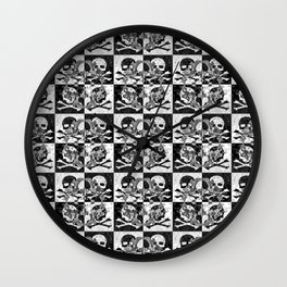 Swimming Glyphs and Sunflowers: Checkered Version With Skulls Wall Clock