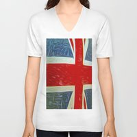 union jack V-neck T-shirts featuring  Union jack Flag by  Alexia Miles photography