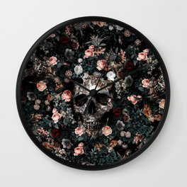 Skull and Floral pattern Wall Clock