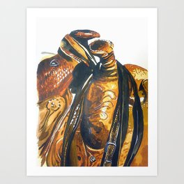 Two Saddles: Art Print