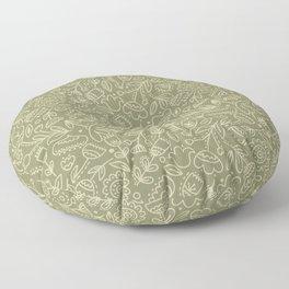 Floral Doodle - Sage Floor Pillow