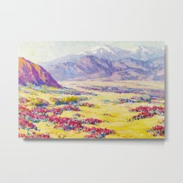 California Desert Wildflowers with Mountains Beyond by Benjamin Brown Metal Print