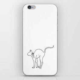 Sphynx Cat Arching Its Back - Naked Cat -  Simple Line - Minimal iPhone Skin