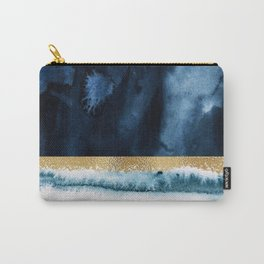 Navy Blue, Gold And White Abstract Watercolor Art Carry-All Pouch
