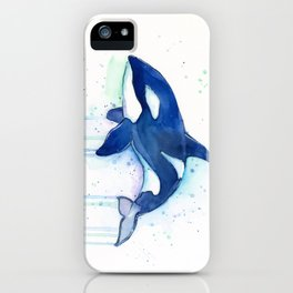 Killer Whale Orca Watercolor iPhone Case