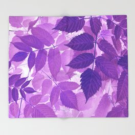 Ultra Violet Purple Leaves Throw Blanket