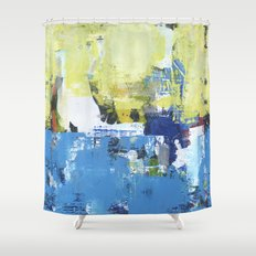 Parakeet Blue Yellow Abstract Art Shower Curtain
