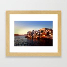 Mykonos Glow Sunset Framed Art Print