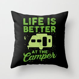 Funny Camping Throw Pillow
