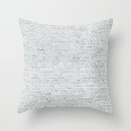 White Washed Brick Wall Stone Cladding Throw Pillow