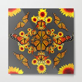 GREY COLOR SUNFLOWERS & MONARCH BUTTERFLY ABSTRACT Metal Print