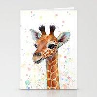 giraffe Stationery Cards featuring Giraffe Baby by Olechka