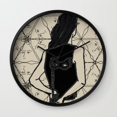 woman holding mask in back Wall Clock