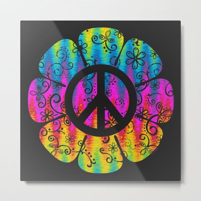 Colorful Peace Symbol Flower Metal Print By Artvixen Society6