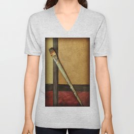 Artist Brush On Abstract Copper Canvas Artwork - Vintage - Modern Art - Corbin Henry Unisex V-Neck