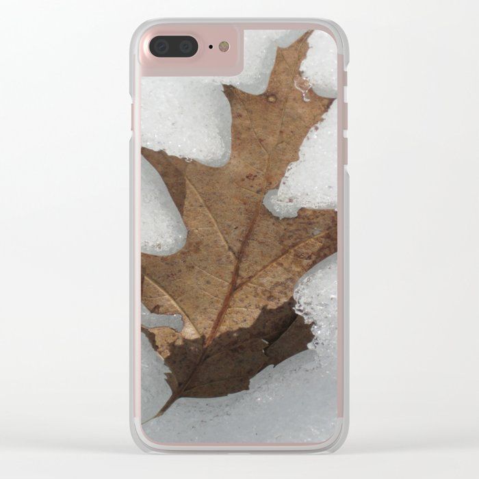 leaf in snow Clear iPhone Case