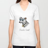 honda V-neck T-shirts featuring Honda Civet by Mike Rubenstein