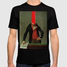 The red stripe in the head and the cigarette in the hand Black MEDIUM Mens Fitted Tee