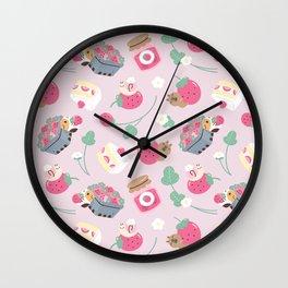 Bubu and Moonch, Guinea pig and Capybara Strawberry Season Pattern Wall Clock