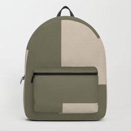 Light Beige Green Minimal Square Design 2021 Color of the Year Uptown Ecru and Sage Backpack