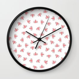 Crazy Happy Uterus in White, small repeat Wall Clock