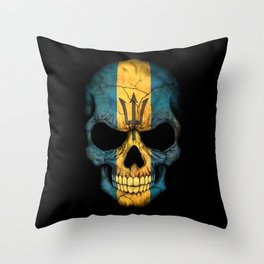 Dark Skull with Flag of Barbados Throw Pillow