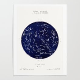 French October Star Map in Deep Navy & Black, Astronomy, Constellation, Celestial Poster