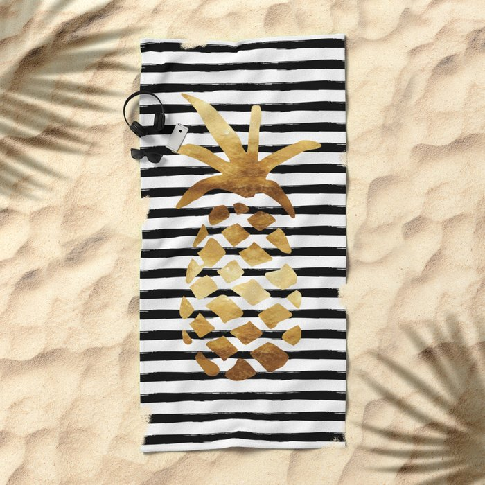 Pineapple & Stripes Beach Towel