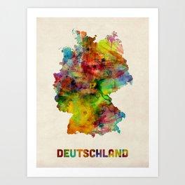 Germany Watercolor Map (Deutschland) Art Print