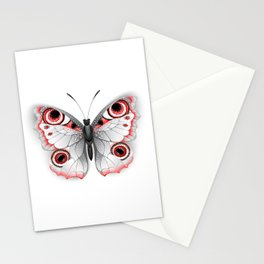 Gray Butterfly Peacock Eye Stationery Cards