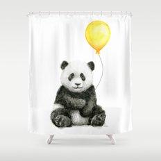 Panda Watercolor Animal with Yellow Balloon Nursery Baby Animals Shower Curtain