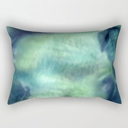 Abstract Blue Green Orchid Painting Rectangular Pillow