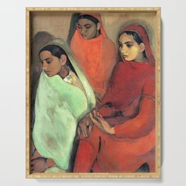 Amrita Sher-Gil - Group of Three Girls - Digital Remastered Edition Serving Tray