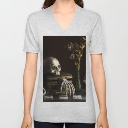 Vanitas, Memento Mori, Macabre Halloween Photo Unisex V-Neck