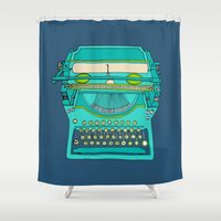 number Shower Curtains featuring Typewriter Number Five by bluebutton studio