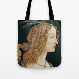 "Sandro Botticelli ""Idealized Portrait of a Lady (Portrait of Simonetta Vespucci as Nymph)"" Tote Bag"