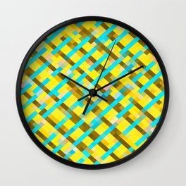 geometric pixel square pattern abstract background in yellow blue brown Wall Clock