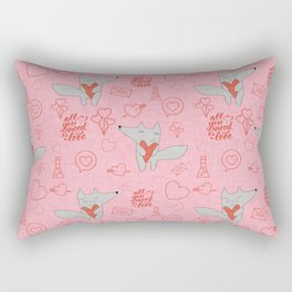 Fox in love pink Hearts Rectangular Pillow