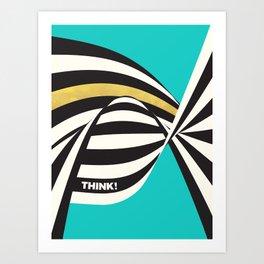 THINK! – Wavy Stripes on Luxury Blue Art Print