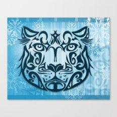 Tribal Graphic Design Illustration winter: Snow Leopard Canvas Print