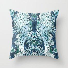 PEACOCK SPLENDOR Indigo Print Throw Pillow