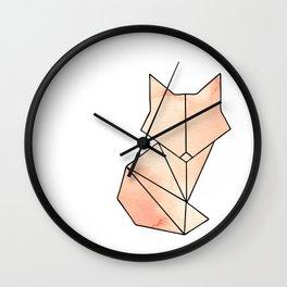 Geometric Fox - Orange Wall Clock