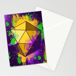 D20 Mardi Gras Splatter Stationery Cards