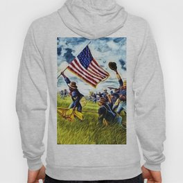 African American 9th Cavalry Buffalo Soldiers 1898 in Cuba, San Juan Hill landscape painting Hoody