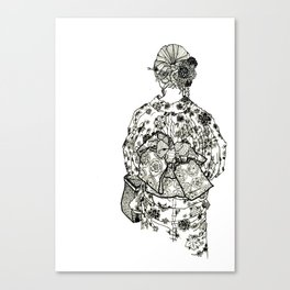 Geometric Black and White Drawing Japanese Yukata Kimono Canvas Print