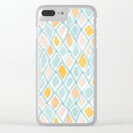 Watercolor Sketch Diamonds Clear iPhone Case