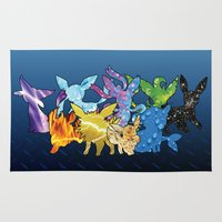 """umbreon Area & Throw Rugs featuring """"The Dream Team"""" - X & Y Eeveelutions by ShoeboxMemories"""